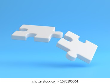 flying puzzle on blue background.  Minimal creative concept. 3d rendering illustration