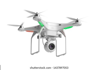 Flying quadcopter drone with camera isolated on white background 3d