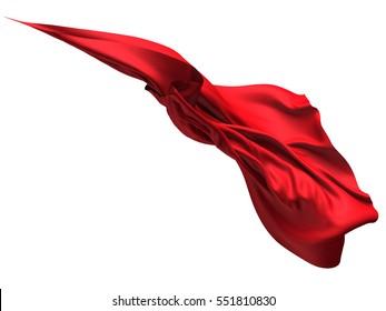 Flying red silk textile fabric flag background. 3d render illustration