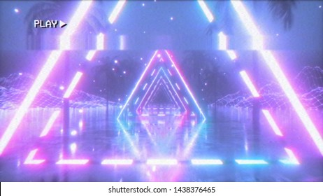 Flying in a retro futuristic space with glowing neon triangle in the style of the 80s. 3d illustration. The effect of the old film cassette with noise, interference and distortion.