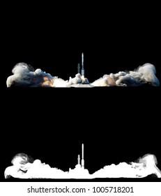 Flying rocket with alpha mask. Fire of rocket. 3d rendering.
