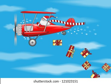 flying Santa Claus  in the plane sprinkle gifts