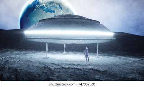 Flying saucer with alien on moon. UFO concept. Realistic metal shaders. 3d rendering.