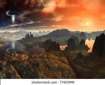 Flying Saucer Ship over Alien Landscape