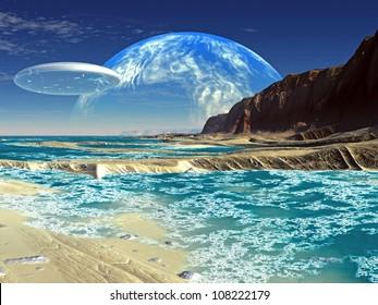 Flying Saucer Ship over Shoreline on Alien Planet