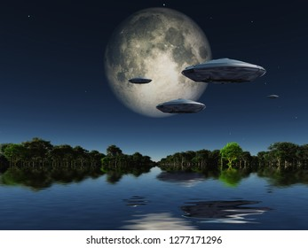 Flying saucers flies above ocean on water planet. Green forest at the horizon and full moon in the sky. 3D rendering