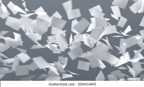 flying sheets of white paper, 3d illustration