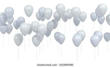 Flying silver blank party balloons isolated on white background. 3D illustration