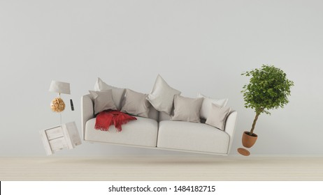 Flying sofa and furniture in weightlessness in the living room (3D Rendering)
