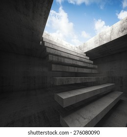 Flying stairway to heaven, abstract empty dark concrete 3d illustration interior background