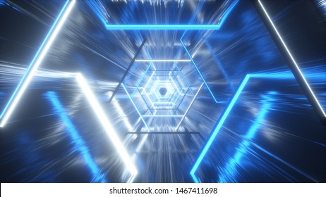 Flying through glowing neon hexagon creating a tunnel with grunge reflection, blue spectrum, fluorescent ultraviolet light, modern colorful lighting, 3d illustration