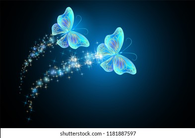 Flying two butterflies with sparkle and blazing trail and glowing stars