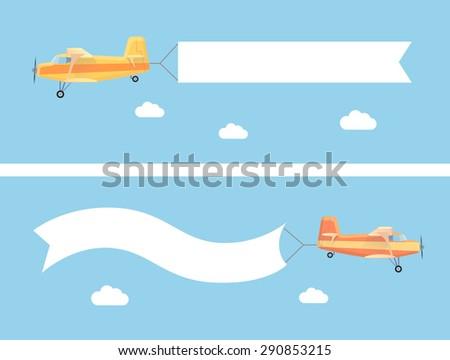 flying vintage plane advertising banner modernのイラスト素材