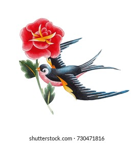 Flying watercolor swallows carrying red flower. Hand painted old school tattoo design isolated on white background. Traditional style