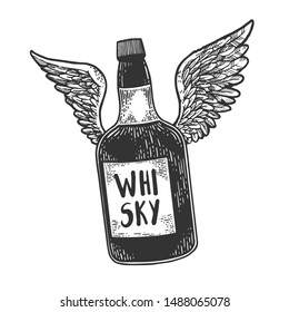 Flying whiskey alcohol bottle with wings sketch engraving raster illustration. Scratch board style imitation. Black and white hand drawn image.