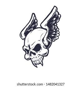 Flying winged vampire skull head