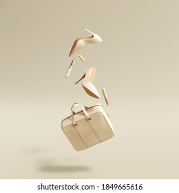 Flying woman's accessories bag, high heels, lipsticks on cream color background. 3d rendering