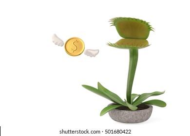 Flytrap with flying gold coins.3D illustration.