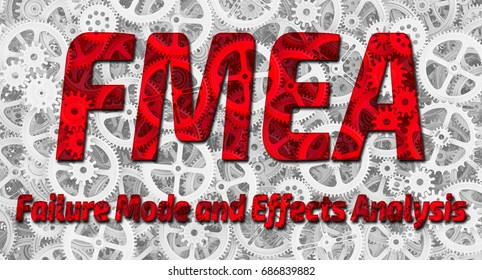 "FMEA. Failure Mode and Effects Analysis. Red inscription ""FMEA. Failure Mode and Effects Analysis"" on the background of gears. Technologies and mechanism. 3D Illustration"
