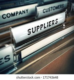 Focus on a folder tab where it is written the word suppliers, 3D render, blur effect.
