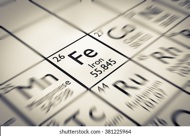 Focus on Iron Chemical Element from the Mendeleev periodic table