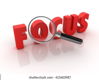 FOCUS Word with Magnifying Glass - High Quality 3D Render