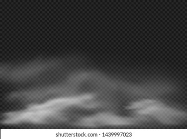 Fog effect. Smoke clouds, cloudy mist and realistic smoky cloud isolated on transparent background. Smoking effects, fog cloud or cloudy air sky  illustration