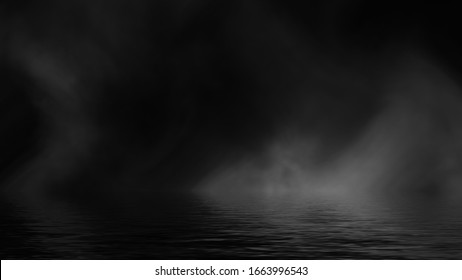 Fog and mist effect on black background. Coastal smoke on the shore. Reflection in water texture overlays.
