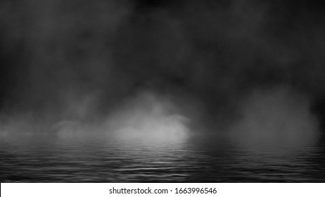 Fog and mist effect on black background. Smoke texture overlays. Stock illustration. Reflection on water.
