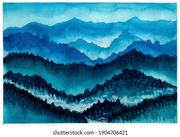 fog in mountains watercolor illustration