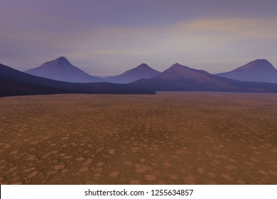 Fog on the desert, 3d rendering, a rocky landscape, dry and dark mountains and clouds in the sky.