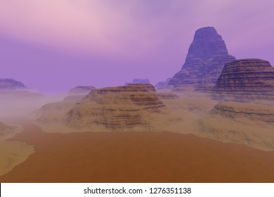 Fog on the desert, 3d rendering,a rocky landscape, dirt road, large rocks and a hazy sky.