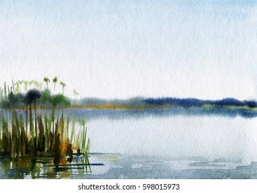 Fog on the lake, summer, landscape watercolors.