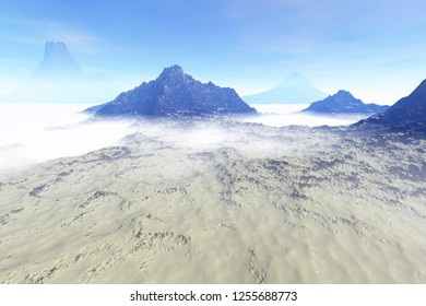 Fog on the mountains, 3d rendering, a snowy landscape, haze, winter weather and a cloudy sky.