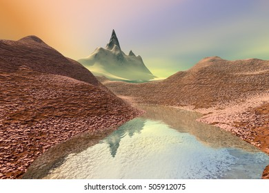 Fog on the mountains, 3D rendering, a rocky landscape, a small lake and a golden sky.