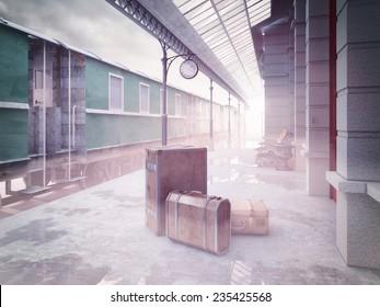 fog on the retro railway  train station .3D concept