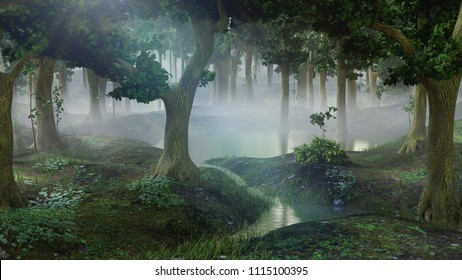 foggy fantasy forest with ponds, 3d landscape illustration