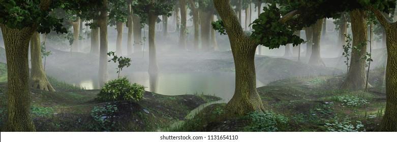 foggy fantasy forest with ponds, 3d landscape illustration banner