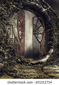 Foggy scene with an old garden gate and ivy. 3D illustration.