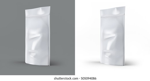 Foil Bag Mock-up Pack realistic 3D illustration