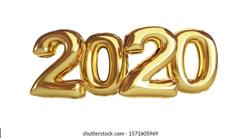 Foil balloon 2020 Gold Happy New Year  on a white background 3D illustration, 3D rendering