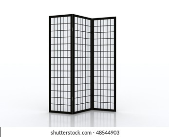 Fold screen. Folding screen furniture piece isolated on white background.