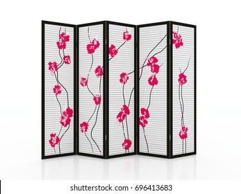 Fold screen Japanese interior furniture isolated on white background 3D illustration