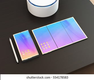 Foldable smart phone, phone that unfolded as tablet PC, digital pen and voice assistant on a dark wood table. 3D rendering image. Original design.