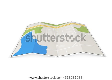 Folded Abstract Navigation Map on a white background
