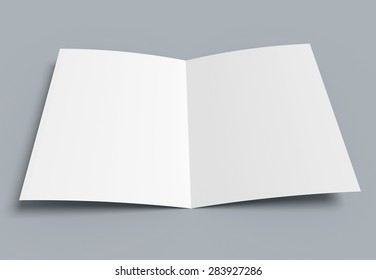 Folded blank sheet of paper. White background