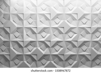 Folded cut paper effect patter. Low poly geometric white gentle elegant 3d repeating pattern made of squares and folded rhombuses. 3d illustration.