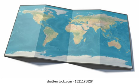 Folded map resting on a plane, map of the world, physical planisphere with state borders. Element of this image is furnished by NASA. 3d rendering