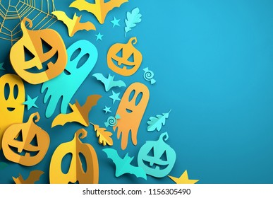 Folded Paper art origami. Blue Halloween background with cut out pumpkins, paper bats, ghosts and other decorations with room for text. 3D illustration.
