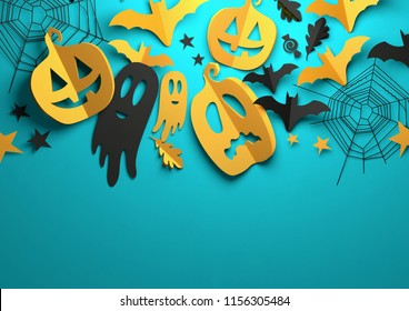 Folded Paper art origami. Halloween background with cut out pumpkins, paper bats, ghosts and other decorations with room for text. 3D illustration.